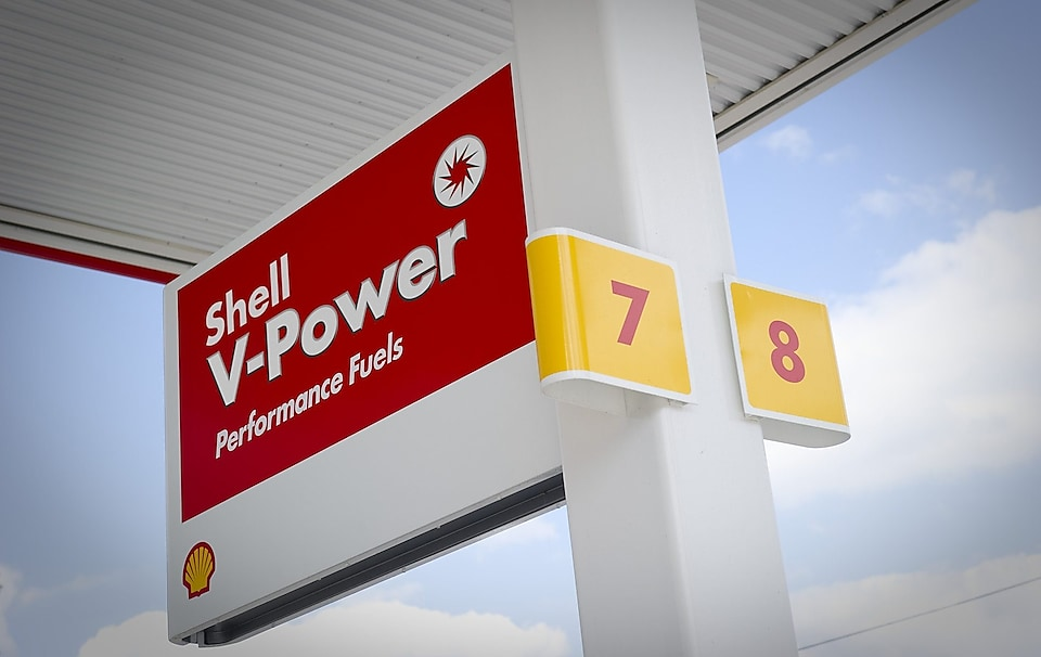 Señal de Shell V-Power en una estación Shell